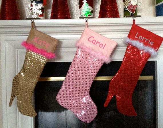 pink sequin Xmas stockings and high heel sequin Christmas stockings.  eco lining (100% recycled polyester)