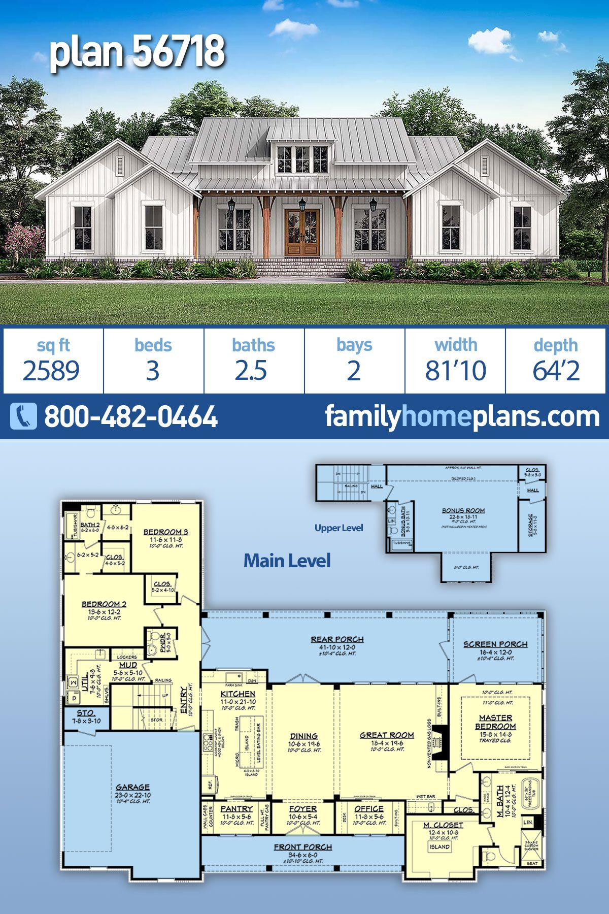 Traditional Style House Plan 56718 With 3 Bed 3 Bath 2 Car Garage Modern Farmhouse Plans House Plans Farmhouse Farmhouse Plans
