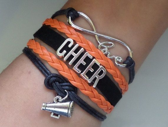Cheer bracelet, Cheerleader gifts, Team gifts, Team sports, Black/orange color, friendship gift