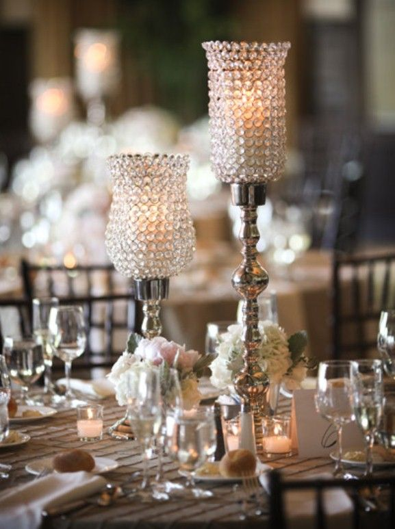 Wedding Reception Crystal And Silver Candle Centerpiece