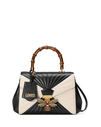 4171a2dacf8 Queen Margaret Medium Quilted Leather Top-Handle Bag Black White ...