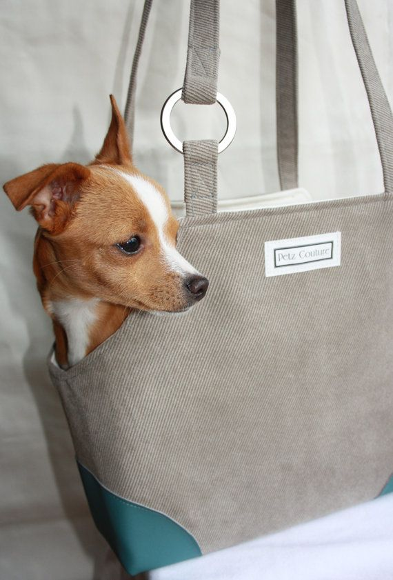 Small Dog Carrier Grey And Blue For Chihuahua By Petzcouture