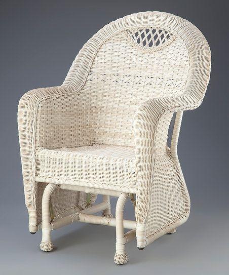 Plow U0026 Hearth White Prospect Hill Outdoor Wicker Glider Chair | Zulily