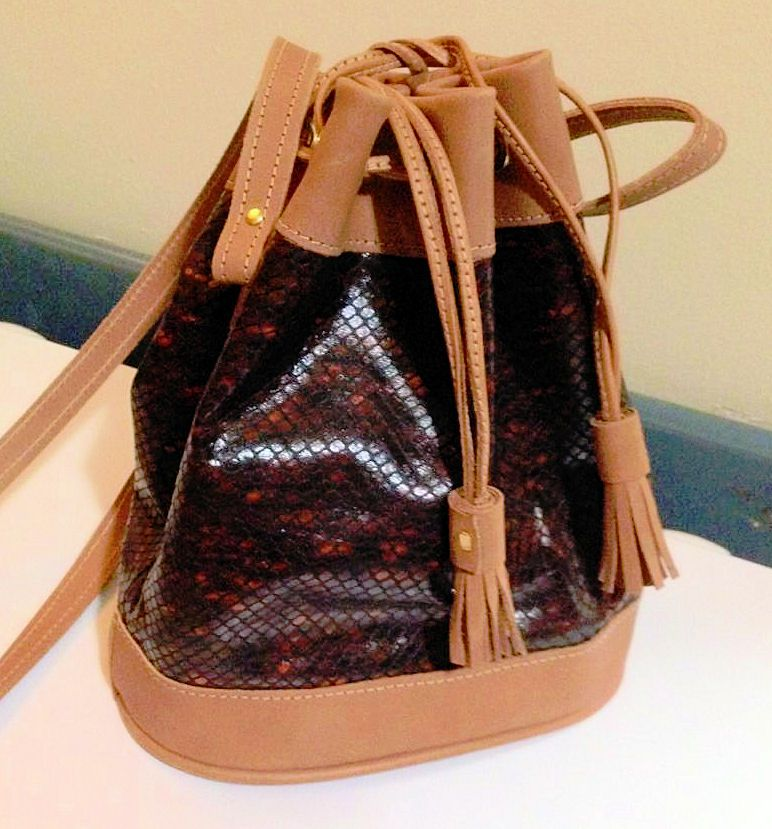 brown leather drawstring I made