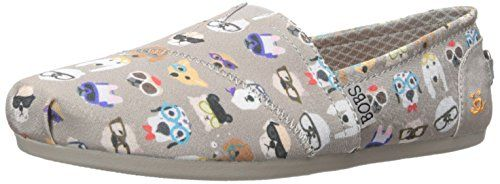 BOBS from Skechers Women's Plush - Pup Flat, Taupe Pup , 9 M US: Smart dog  print slip on w memory foam