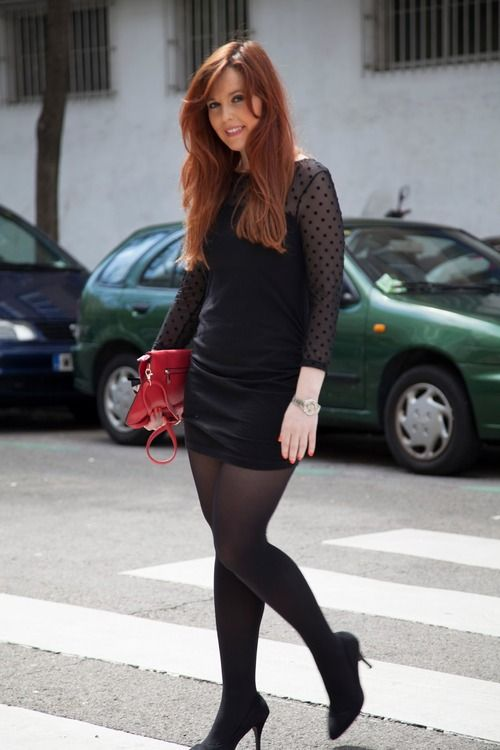 Tightsobsession Black Opaque Tights With Elegant Black Dress