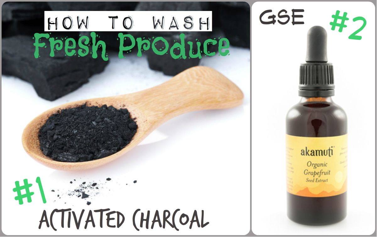 1 soak all produce in a Charcoal/Water