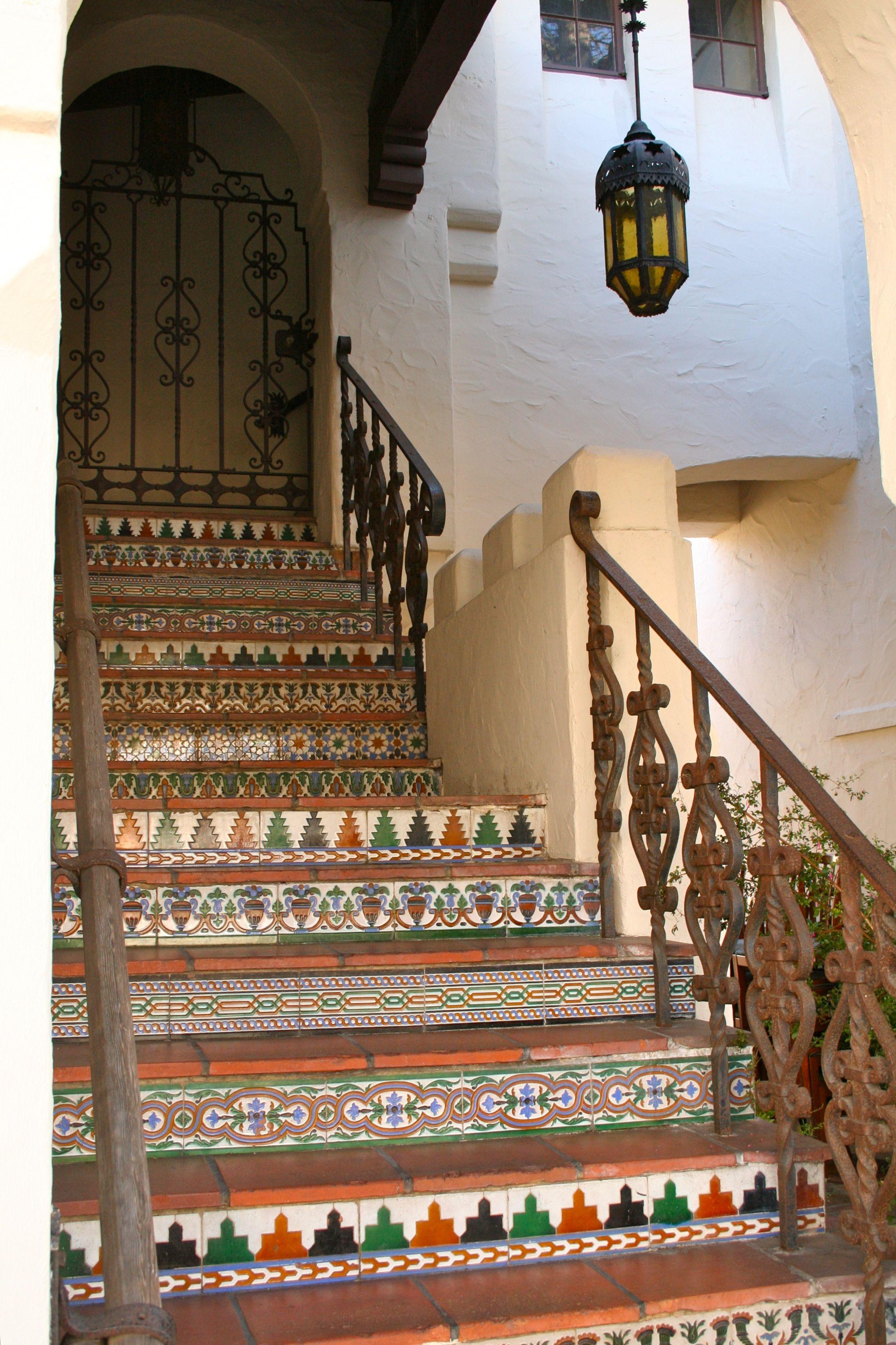 Spanish Tile And Wrought Iron Railing In Carmel Spanish