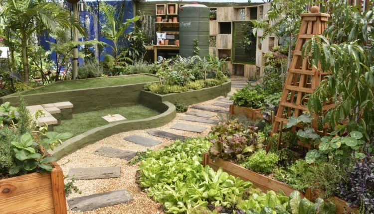 Winding path of gravel and pavers Garden design images