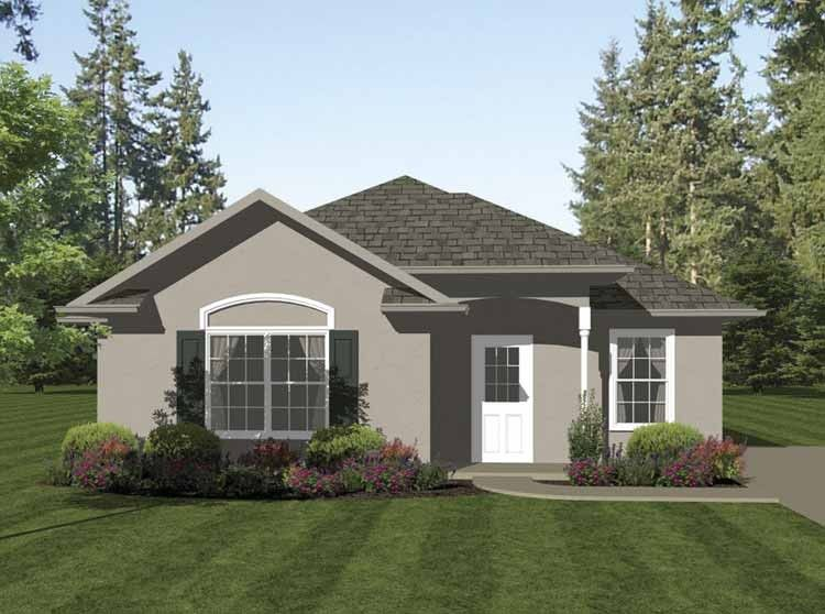 European Style 1 Story 2 Bedrooms(s) House Plan With 1013 Total Square Feet