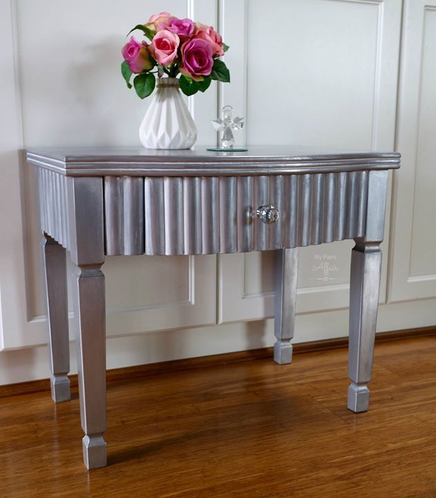 Silver Accent Table. Washes Of Silver Leaf And White Were Used Or A  Shimmering Effect