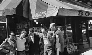 Beatnik + bookshop vibes <3  Bob Donlin, Neal Cassady, Allen Ginsberg, Robert LaVinge, and Lawrence Ferlinghetti in front of  City Lights bookshop San Francisco 1956