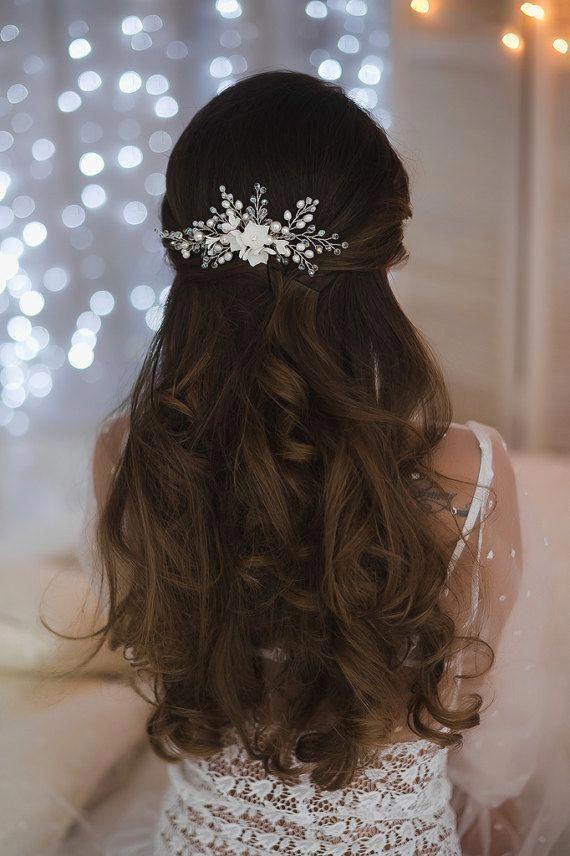Cabeza de novia boda peine de pelo flor flor de la perla perla cristalina floral peluquería Halo accesorios peine pelo Clip Headpiece Hair Piece