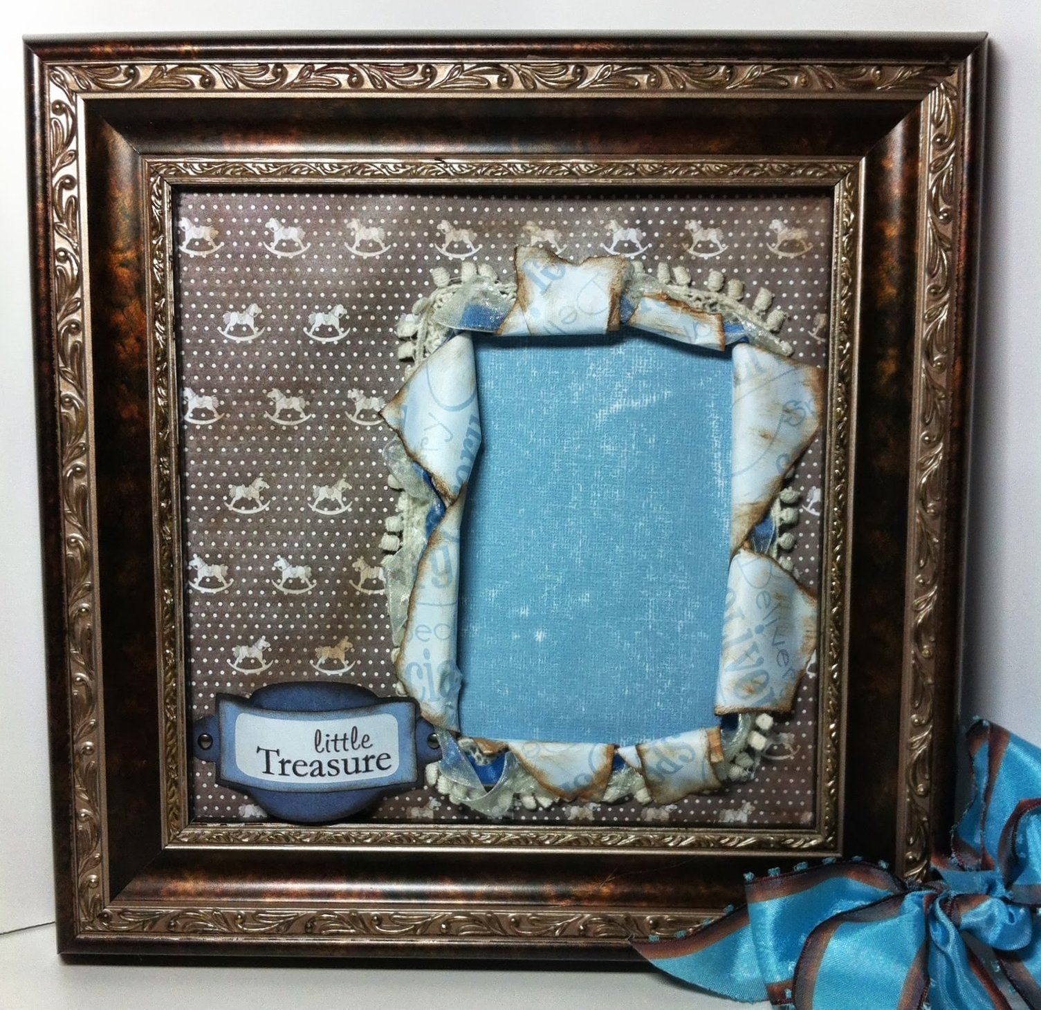 Wendy Cusky is creating super cute scrapbook pages and putting them in frames, love it! www.chatteringrobins.blogspot.com #scrapbooking #scrapbook #frame #specialdelivery #babyboy #rockinghorse #robinsnestscrap