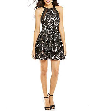 B Darlin Tiered Asymmetric Skirt Lace Fit And Flare Dress