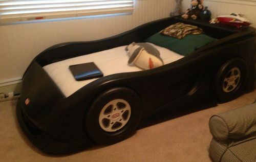 Little Tikes Black Race Car Bed For Twin Mattress Kids Room Decor