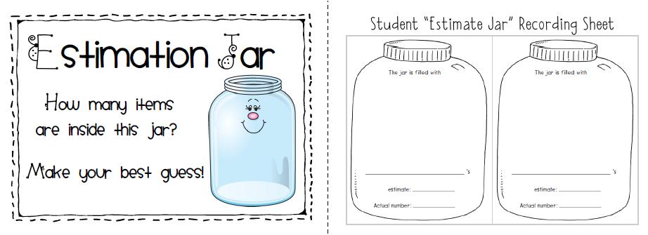Sailing Through 1st Grade Estimation Jar Label Math Stations Kindergarten Kids Math Worksheets Kindergarten Worksheets