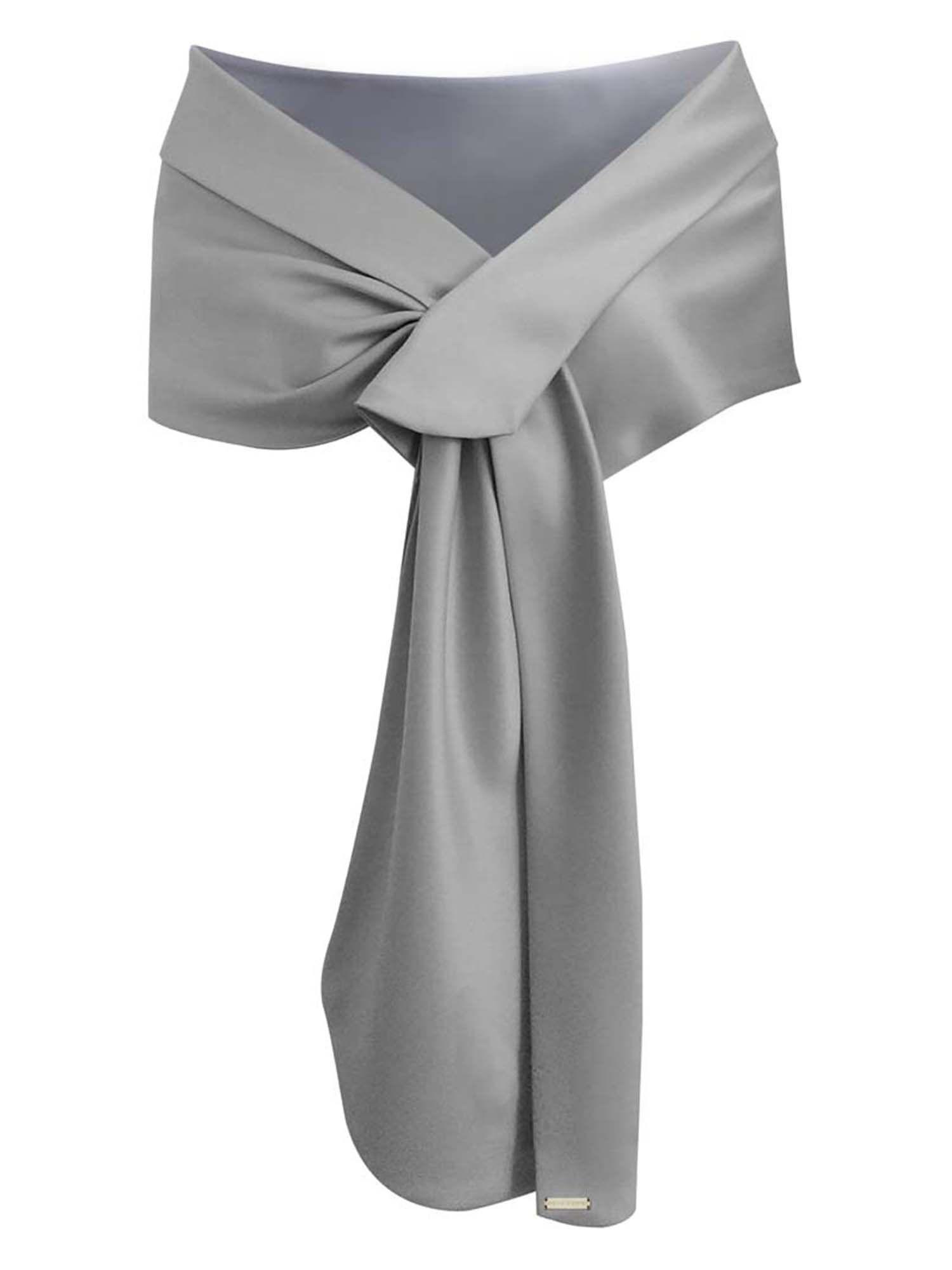 75a53b1503b Noir Echarpe Châle Foulard Etole Satin Pour Femmes Robes de Cérémonie  Soirée Mariage Mariée en 2019