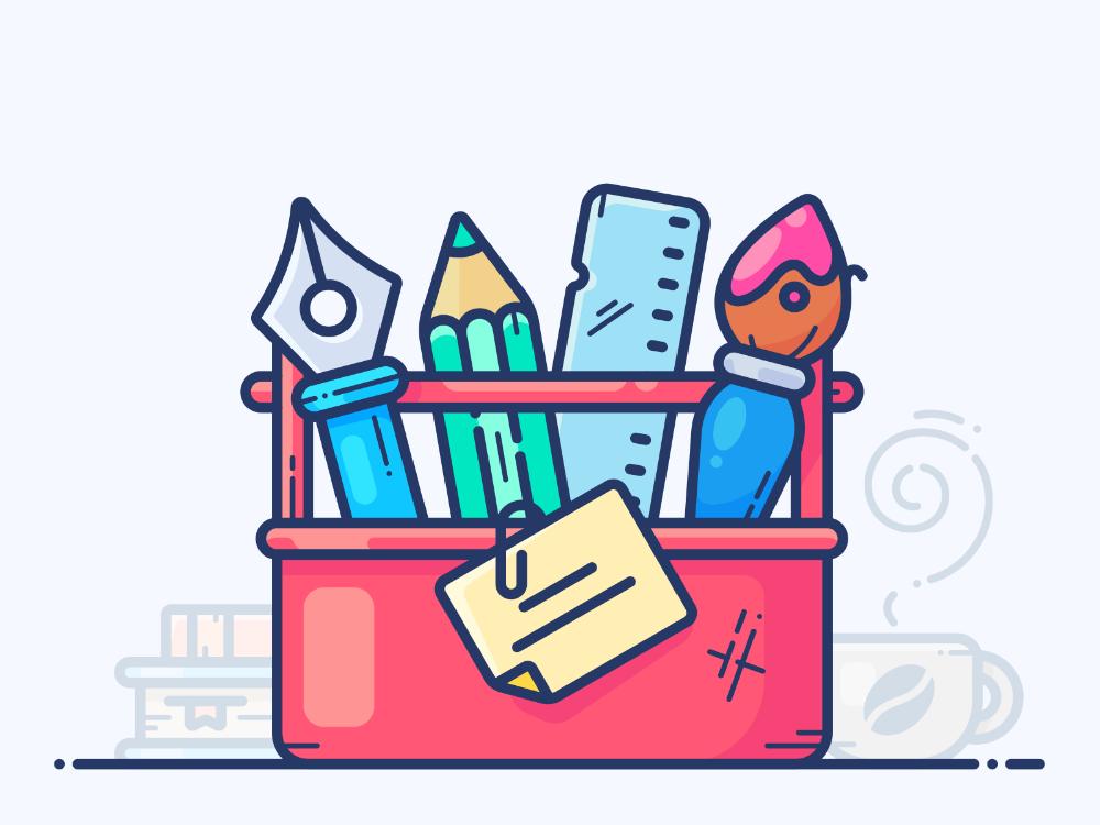 Design Toolbox Flat Design Illustration Digital Art Design Outline Illustration
