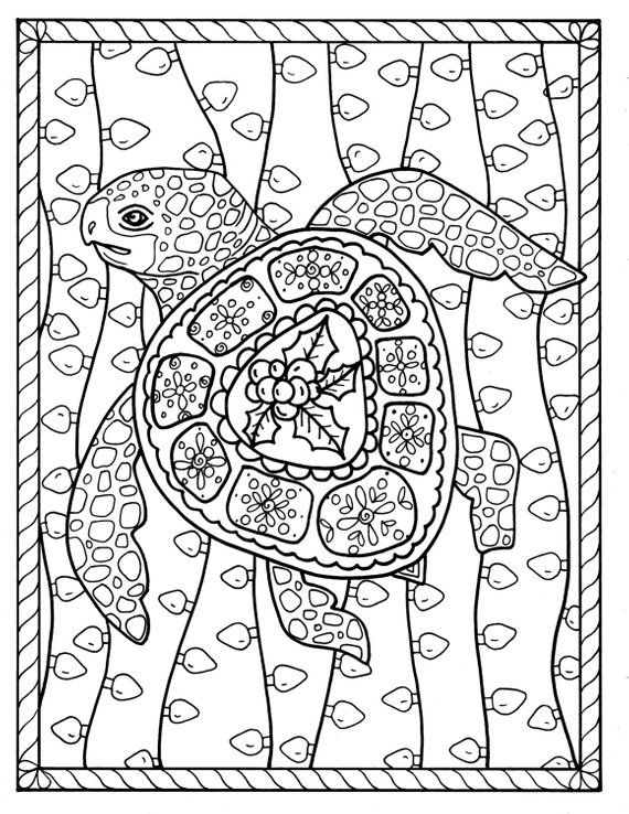 Sea Turtle Christmas Coloring Page Instant Download Digital Sea