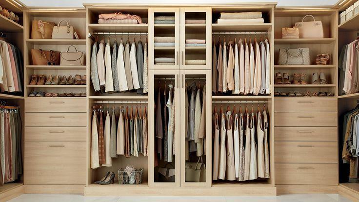Maple Finish Clothing Storage Closet Ideas In 2019 Closet Designs Container Store