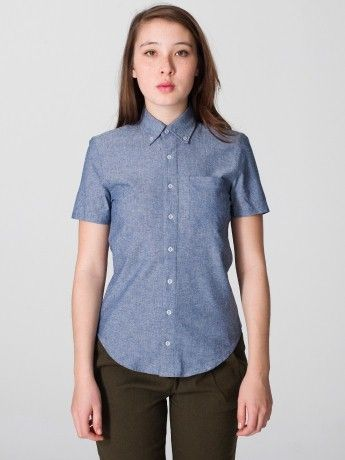 Unisex Chambray Short Sleeve Button-Down Shirt | Short Sleeves ...