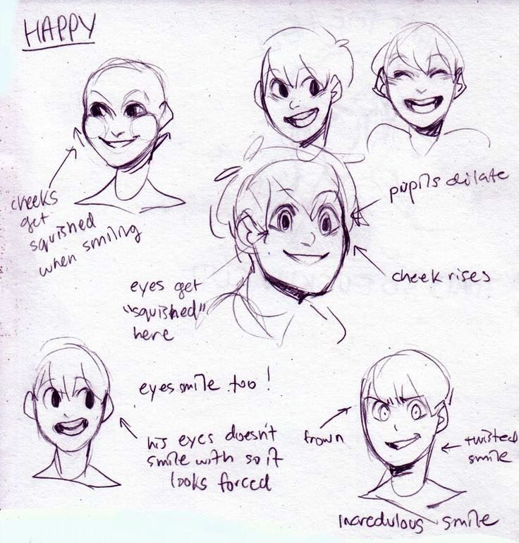 Happy Expressions Drawing Expressions Art Tutorials Drawing Tutorial