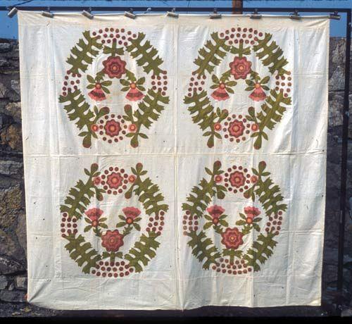 Coxcomb & Currants quilt top.  1865
