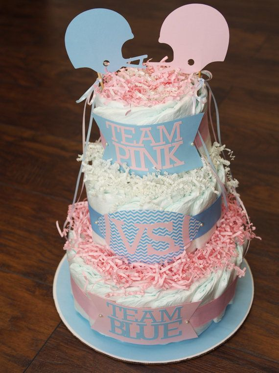 Team Pink Vs Team Blue Diaper Cake With By Polkadotpigpaperie 40 00 Gender Reveal Cake Baby Shower Gender Reveal Blue Diaper Cake