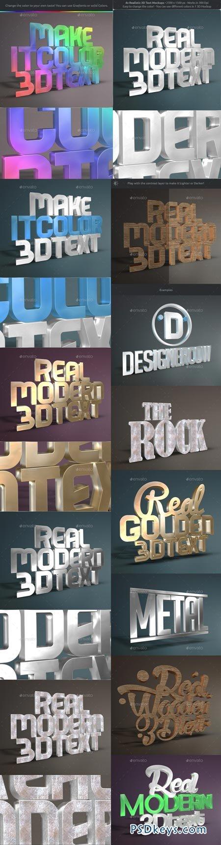 Real 3D Text Mockups V2 8888843   de PSDKEYS   Text effects, 3d text