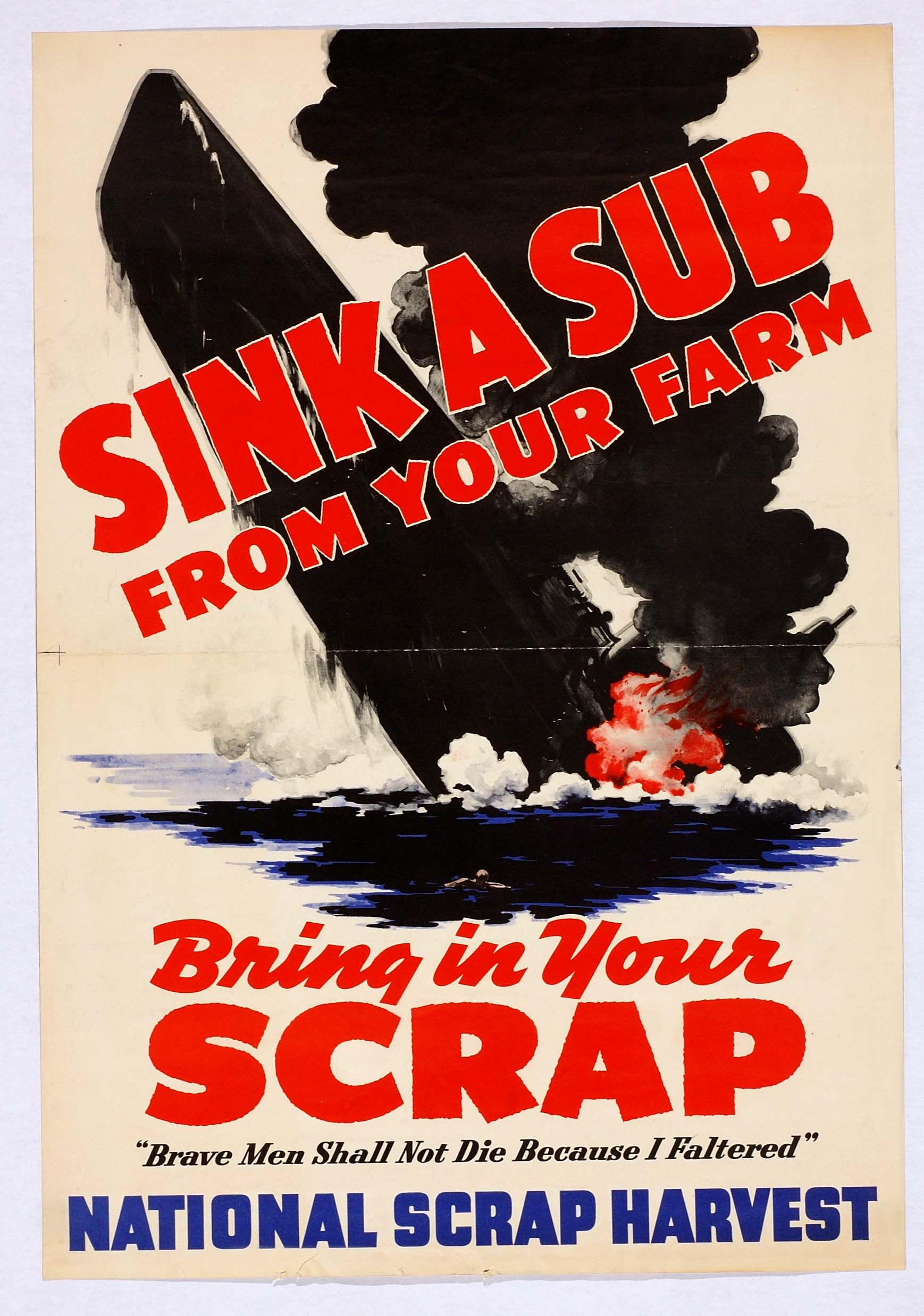 American Large Propaganda poster world war 2 Your Scrap