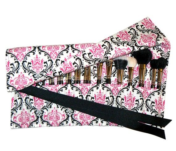 Large damask makeup brush roll organizer by asoftblackstar on #Etsy Getting one, or making one