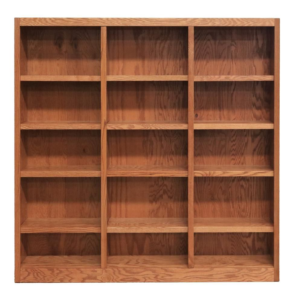 Concepts In Wood 72 In Dry Oak Wood 15 Shelf Standard Bookcase With Adjustable Shelves Mi7272 D The Home Depot In 2020 Wall Storage Unit Bookcase Wood Bookcase
