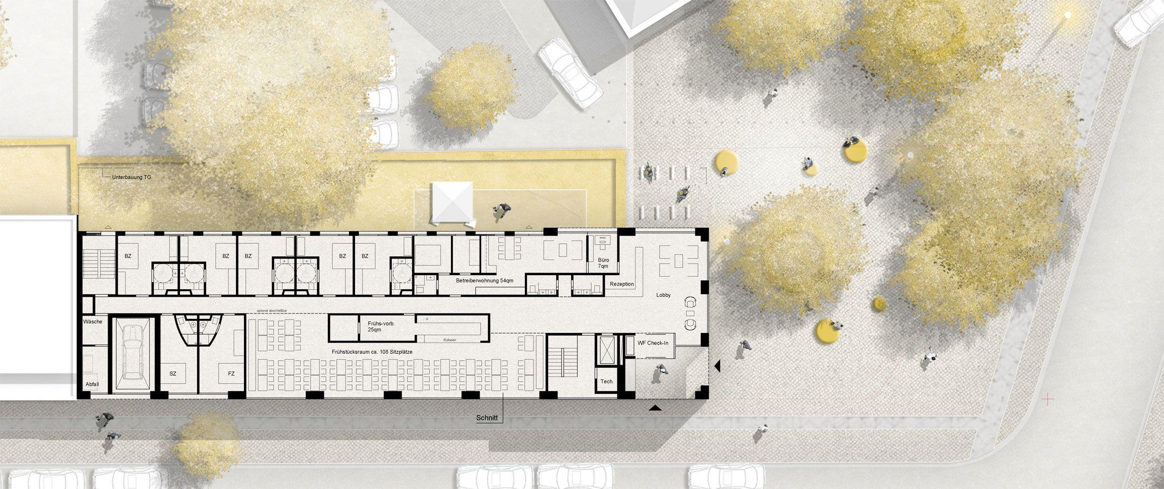 1 preis neubau eines b b hotels competitionline grundrisse und lagepl ne pinterest hotels