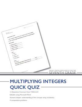 Grade 7 Multiplying Integers Quiz | teaching math | Integers