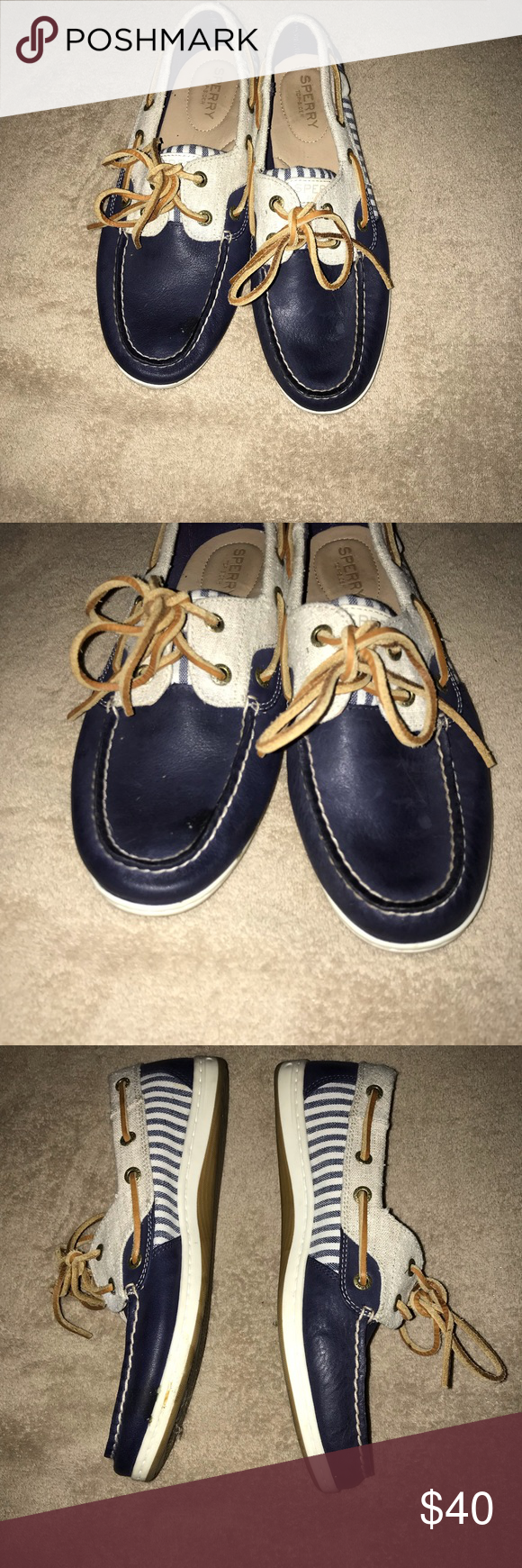 507e99b31fb3 Speedy Top Sliders Navy and white stripped Sperry Top Sliders. Only worn  once. Love