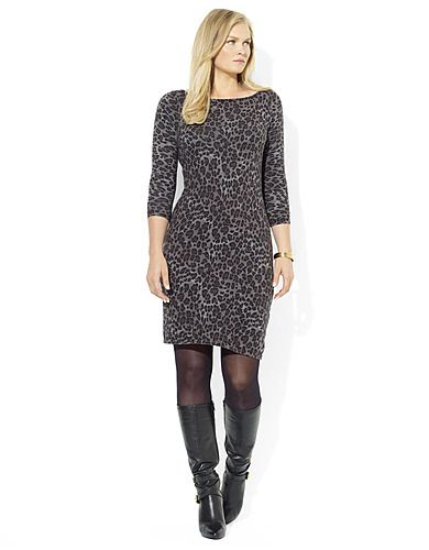 Plus-Size Long Sleeve Grey Leopard Sweater Dress | GIGI\'S CLOSET ...