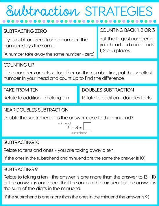 8 Strategies That Will Make Subtraction Easy is part of Subtraction strategies, Teaching subtraction, Mental math, Math strategies, Mental math strategies, Subtraction - Do you spend a lot of time teaching the addition strategies but a lot less time on subtraction  No matter what country you teach in, you will find a mathematics standard that says something like, 'Fluently add and subtract within 20 using mental math strategies'  This means we need kids to have automatic recall of both their addition and subtraction facts  Subtraction Strategies The main strategy for teaching the subtraction facts is to have children relate them to known addition facts  Of course, this means that the addition facts must be well known before attempting to teach the subtraction facts