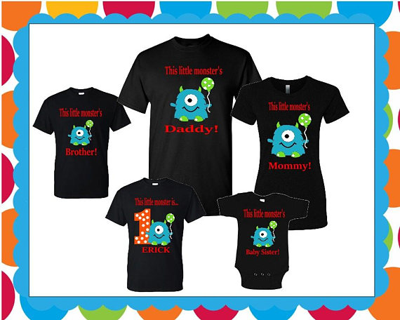 Little Monster Birthday Matching Family T Shirts Custom Made Boy