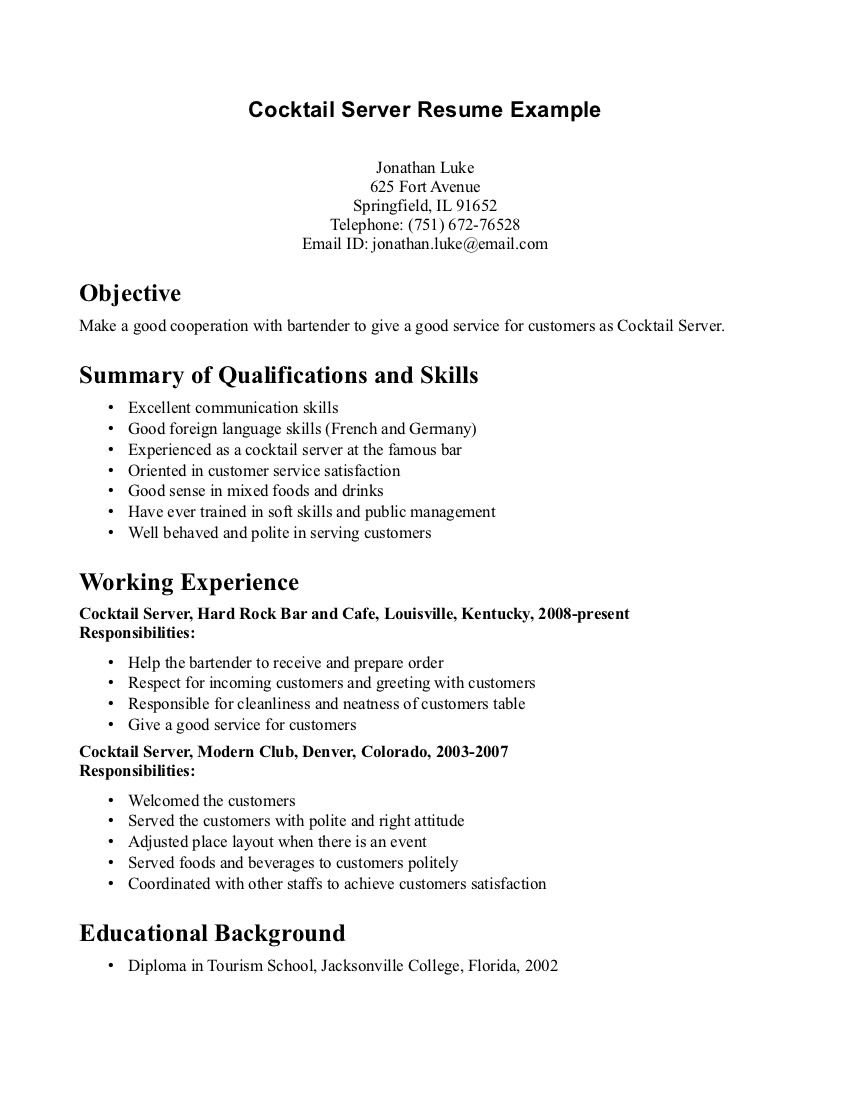 Cocktail Waitress Resume Sample