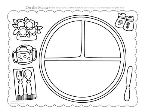 Place mat - print 2x laminate one and velcro and cut out the plate ...