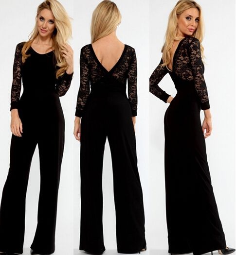 Black Flared Pant Lace Sleeve Jumpsuit loose jumpsuit women long ...