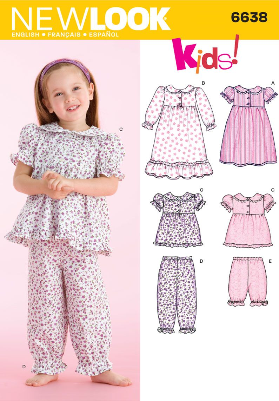 Toddler Nightgown and Pajamas Sewing Pattern 6638 New Look | dikiş ...