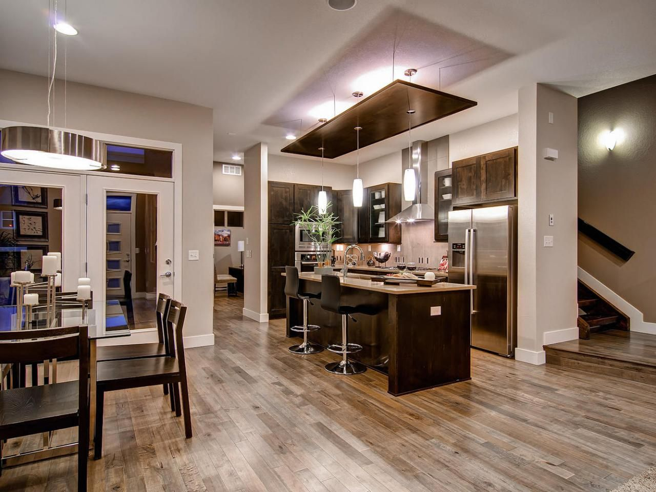 A Mixture Of Multi Toned Hardwood Floors Modern Stainless