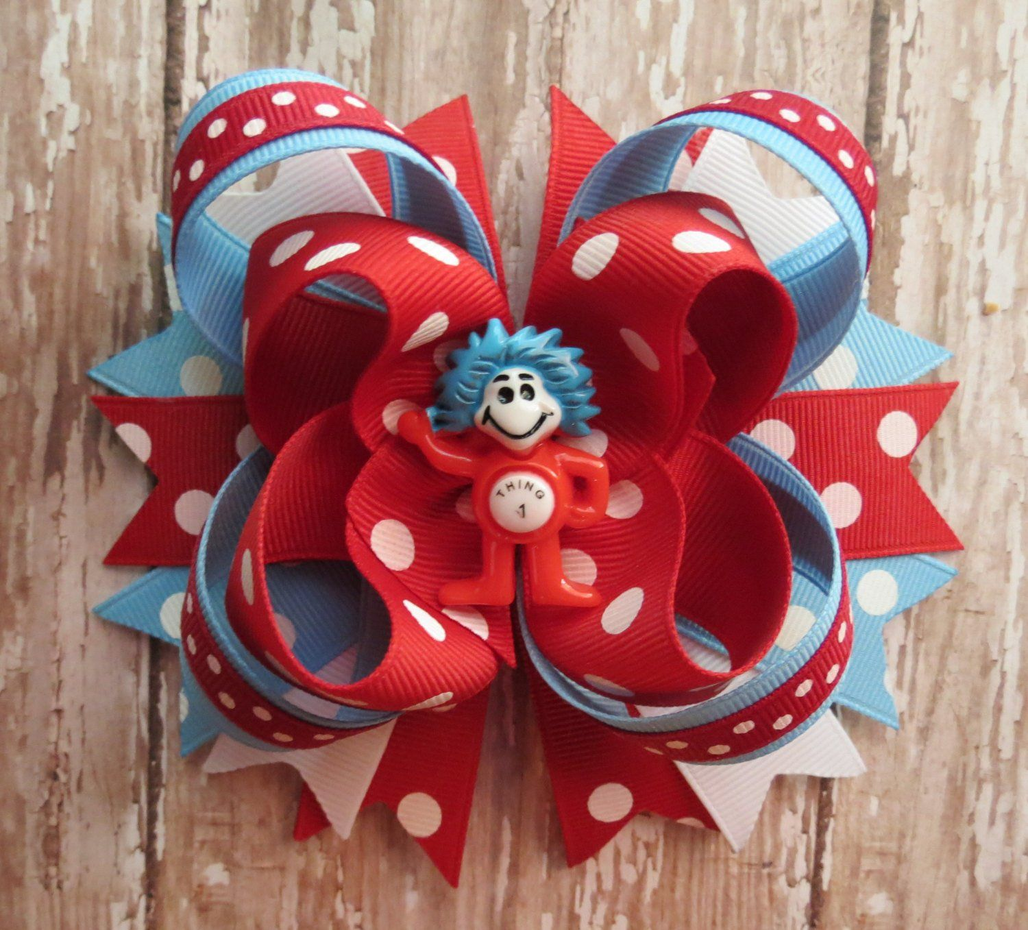 Thing 1 /& Thing 2 Dr Seuss Hair Bows Cat In The Hat Fish Clips Or Bobbles