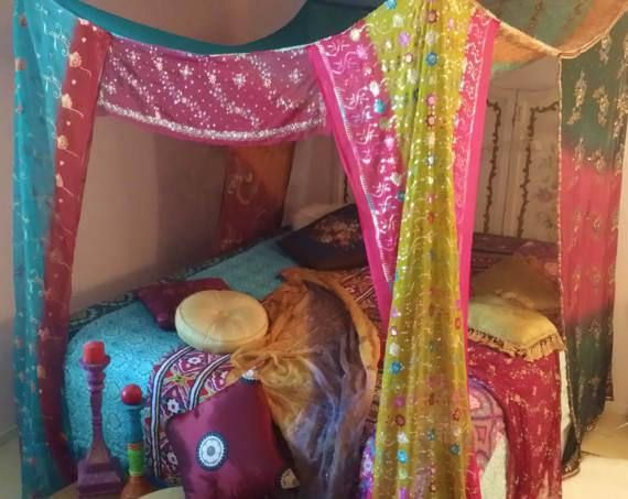 Bed Canopy Boho Gypsy Bedroom Made To Order India Fabric & Bed Canopy Boho Gypsy Bedroom Made To Order India Fabric ...