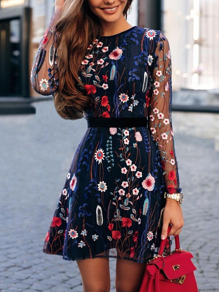 Floral Embroidery Mesh Sleeve Casual Mini Dress  f699decba72e
