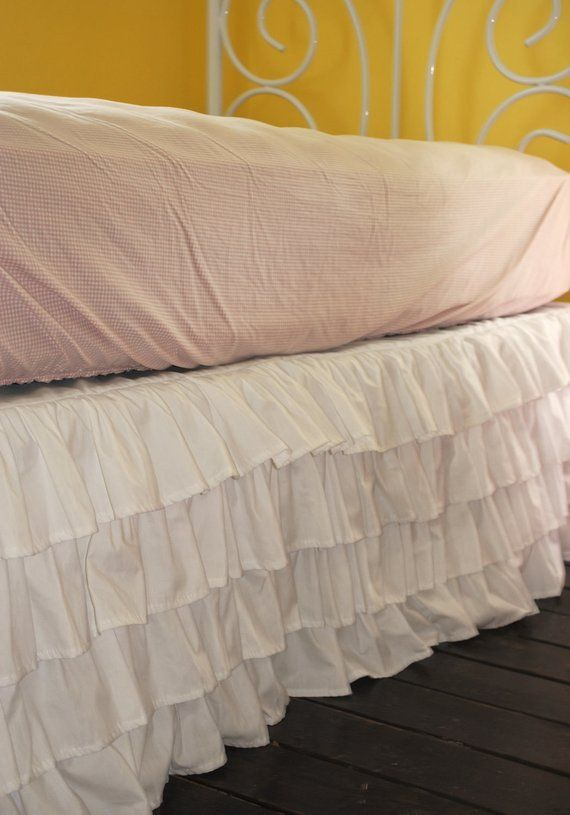 White Ruffle Bed Skirt Queen Or King