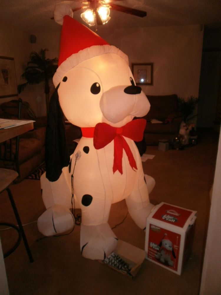 6 ft huge gemmy holiday dog airblown inflatable lighted christmas decoration pup gemmy - Huge Inflatable Christmas Decorations