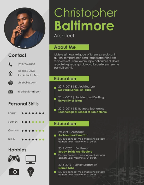 5+ Architect Resume Templates - Architecture resume, Architect resume, Resume, Architectural cv, Portfolio resume, Resume template - With the struggle for employment in architecture growing tougher by the day, your resume is the only selfmarketing tool that you must make the most of  Ideal architect resumes…
